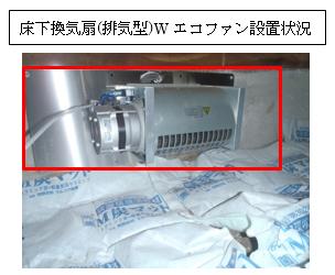 床下換気扇(排気型)Wエコファン設置状況
