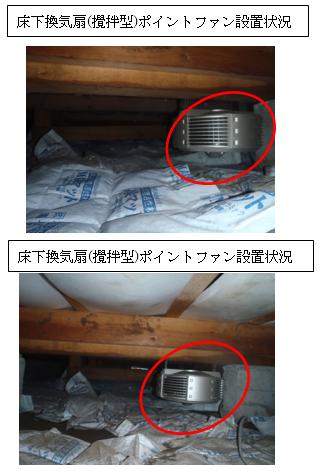 床下換気扇(攪拌型)ポイントファン設置状況
