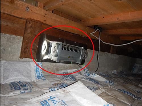 床下換気扇設置完了(和室)